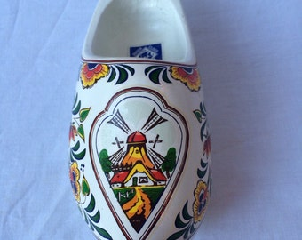 Holland Windmill Decorative Wooden Shoe. White with yellow flowers. Made in Holland. Souvenir.