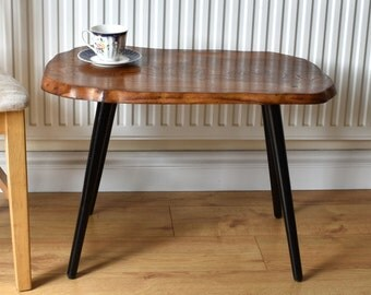 Retro Wooden Elm Topped Side/Coffee Table With Black Tapered Legs