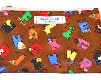 Brown Alphabet 'Ellis' Pencil Case, handmade pencil case, fabric pencil case