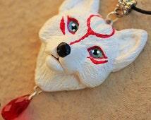 Necklace White Wolf's head Okami Nintendo animal
