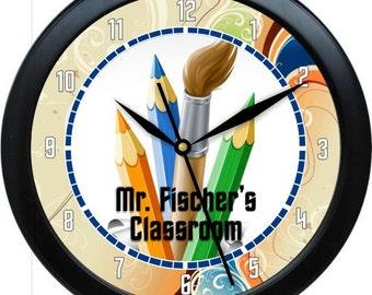 "Art Teacher Clock 10"" Personalized Wall Clock Classroom Decor Graphic Art Studio Gift Teacher Appreciation"