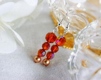 Earrings, vintage earrings, Repurposed, vintage beads, gold