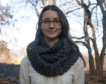 Grey 100% Wool Knit Circle Scarf