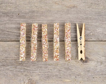 Large Rose Gold Glitter Clothespins / Magnetic Clothespins - 6 pc