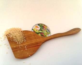 Hand carved wood, wooden spatula for flipping and serving, kitchen tools