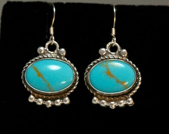 TURQUOISE Navajo Dangle Earrings Southwest Native American Vintage Sterling