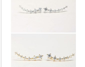 FREE SHIPPING! Silver Gold Pave Crystal Nesting Stone Multi-layered Ear Climber Ear Jacket Ear Sweep Ear Crawler Earring pin ear cuff pair