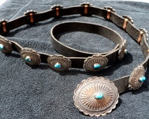 Native American Navajo Vintage Sterling Turquoise Concho Belt 1970s 14 Conchos