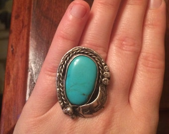 Giant vintage sleeping beauty turquoise ring