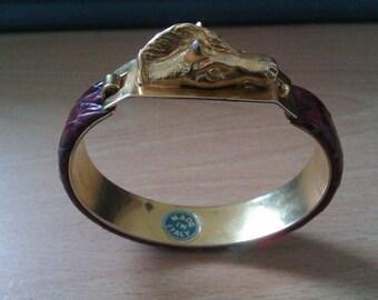 vintage faux snake skin animal head bracelet