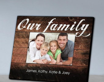 "Personalized ""Our Family"" Picture Frame, Photo Frames, Customized Frame, Photo Gift"