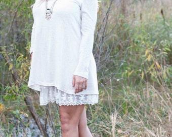 Lace bottom sweater dress