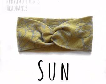 Yellow Flower Headband, SUN turban headband, floral headband, flower autumn headband, sheer knit turban headband, knit turban headband