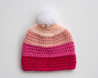 Crochet Girl Hat, Toddler Hat, Pom-pom Hat, Winter Hat