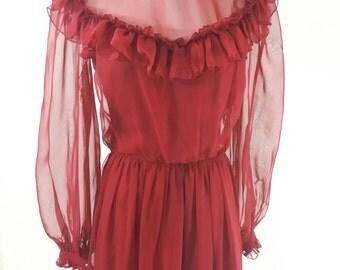 Vintage Dress Victorian Renaissance Maxi Ruffle Sheer Sleeve S M