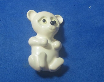VINTAGE Antique Brooch White Teddy Bear By Gerrys