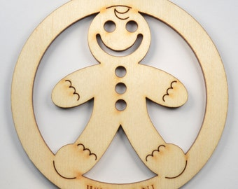 Christmas Gingerbread Man Ornament~Wood~Personalized FREE