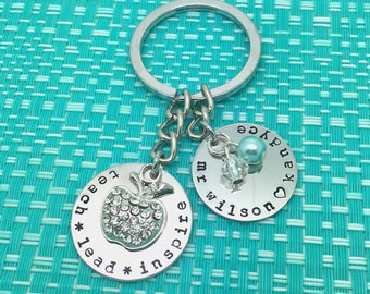 Hand stamped personalised teach lead inspire key ring. Perfect Teachers gift. Apple. Handmade. Adelaide