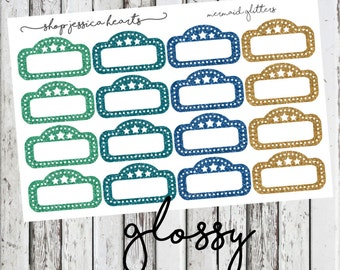 Mermaid Glitter (GLOSSY) Movie Marquee Planner Stickers