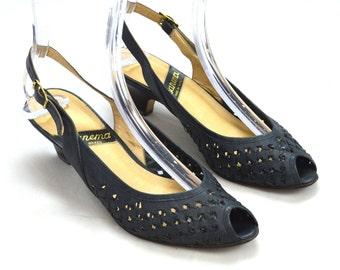 Vtg Woven Gun Metal Leather IPANEMA Brazil Peep Toe Slingback Heel Sandals 7.5 M