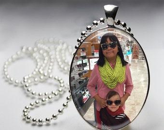 Custom Photo Glass Pendant, Oval Photo Glass Necklace, Custom Keychain