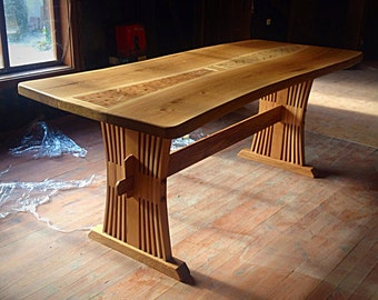 Massive Oak handmade live adge wood dinning  table