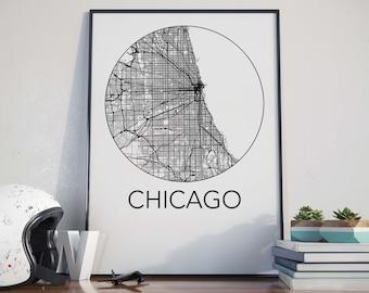 Chicago, Illinois Minimalist City Map Print