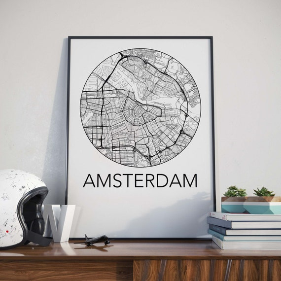 Amsterdam, Netherlands Minimalist City Map Print