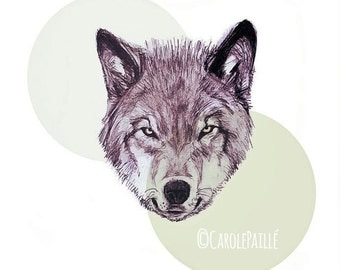Poster Wolf Art Print on canvas •