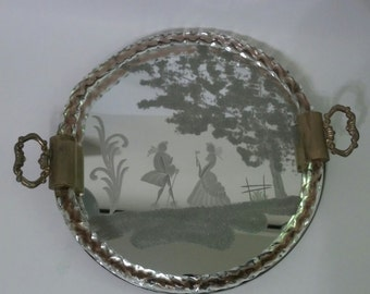 Vintage Etched Murano glass tray