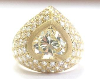 18KT SPADE SHAPE Fancy Light Yellow Diamond Ring YG 4.49CT