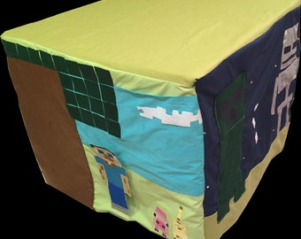 READY to SHIP order for CHRISTMAS Minecraft Tablecloth Fort