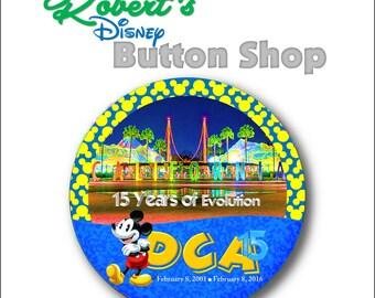 """Disney California Adventure 15th Anniversary """"California Letters"""" 2-3/8"""" Button"""