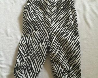 "Handmade Baby Girl Pants In ""Zebra"" Print 100% Cotton. Sizes 000, 00-0 & 1"