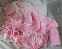 Knitted Matinee Set - Baby Girl Matinee Set - Knitted Baby Dress - Knitted Bolero,Knitted Shoes,Knitted Bonnet, Baby Girl Baby Shower Gift