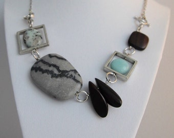 Necklace turquoise and gray