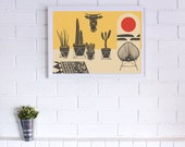HOT NIGHTS Poster, Art Print Series- 3 sizes available, Home Decor, Mid Century, Surf, Cactus, Desert, wall art