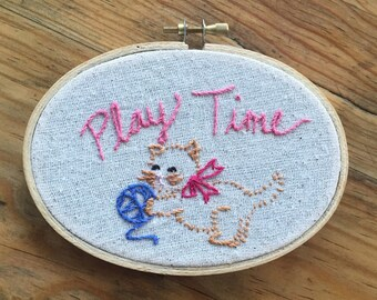 Play Time Kitten Embroidery Hoop