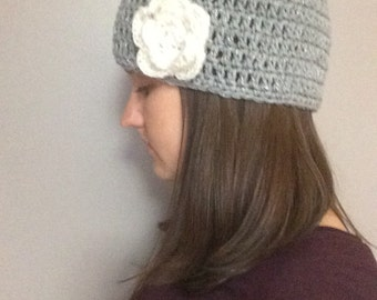 Beanie with Flower Accent