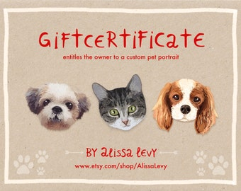 Custom pet portrait, Custom Cat portrait, Gift Certificate, last minute gift, christmas gift, printable gift, gift voucher, cat certificate
