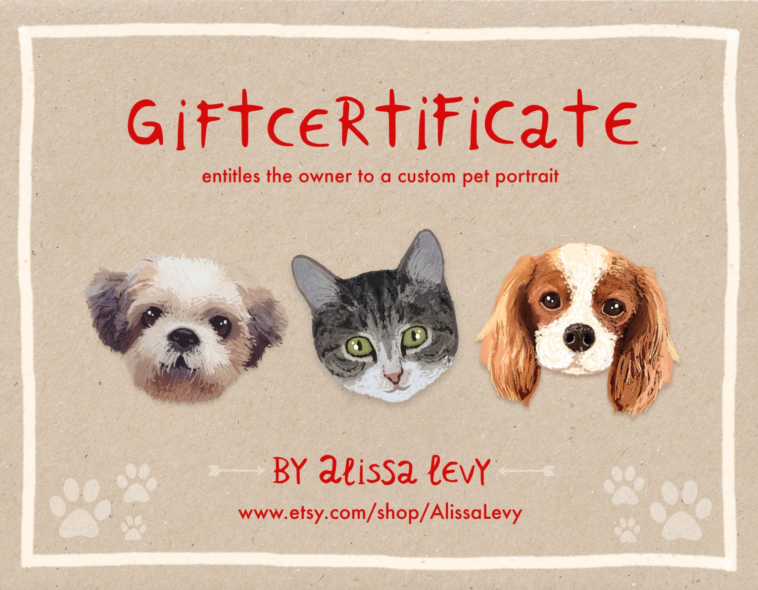 gift certificate template custom pet portrait custom cat portrait gift certificate last minute gift christmas