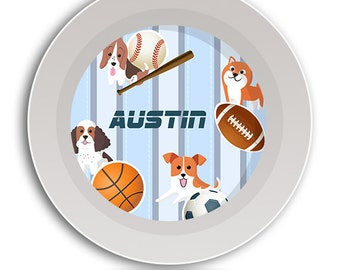 BOWL Puppy Dish, Sport Ball Dishes, Athletic Kids Plate, Dog Sports Melamine Set, Baby Bowl, Kids Dinnerware, Childrens Tableware, Boys Gift
