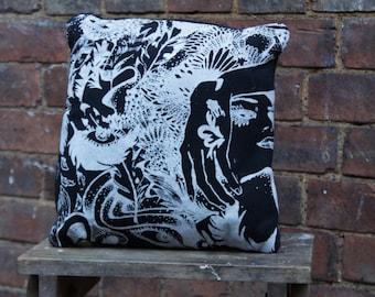 Handmade Graphic Print Cushion