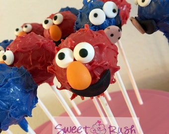Sesame Street Elmo and Cookie Monster Cake Pops.
