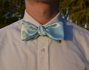 Light Blue Satin Bow Tie