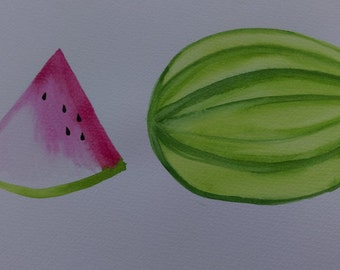 Watermelon - original painted in water colour