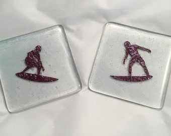 fused glass coasters, surfer coaster, beach coasters, surf