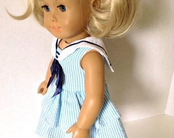 Handmade Blue & White Sailor Dress, to fit an 18 Inch Doll with Trendy Nautical Style.