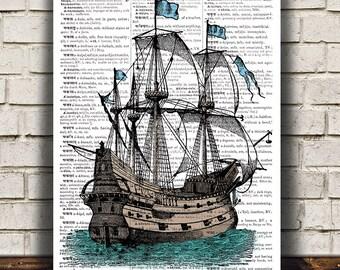 Nautical poster Victorian art Dictionary print Ship print RTA1150