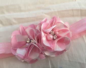2 satin flower headband